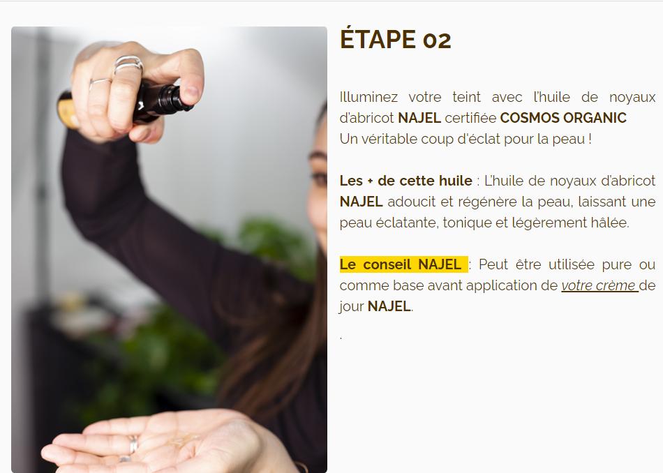 huile végétale bio NAJEL - huiles végétale bio pour le visage - teint lumineux - huiles végétales bio pour peaux normales à grasse - huile végétale bio pour peau sensible