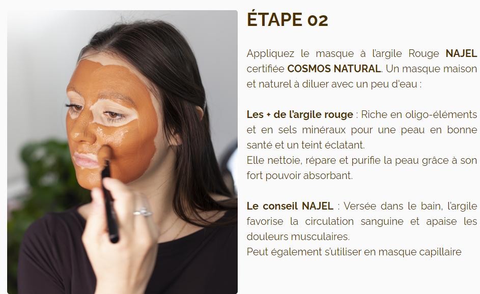 argile rouge naturelle NAJEL - masque visage naturel - masque visage pour peaux normales à grasses - masque visage maison bio - peaux éclatante