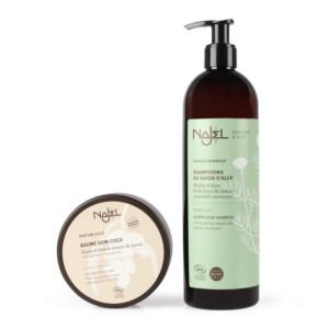 Shampooing savon d'Alep NAJEL pour cheveux secs  Baume soin coco NAJEL - réparateur